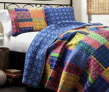 Light Weight Summer Quilt Set King Size Cotton / Poly 3 Pc Reversible Blue Shams