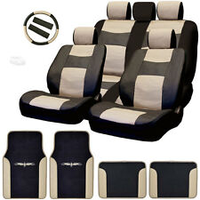 New Semi Custom Syn Leather Seat Covers Split Seat Vinyl Mats BT Set For Ford