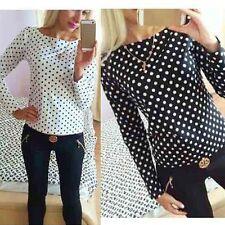 Heiße Mode Langärmeliges Top Damen Hemd Chiffon-hemd Freizeit Bluse Wellen Punkt
