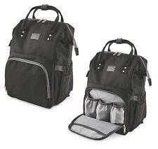 BLACK Baby Changing Rucksack Bag Stroller Attach Change Mat Multi bottle Pocket