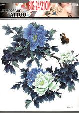 A4 - 24X22CM Blu Bianco Fiore completo indietro sul Petto Braccio Girovita 3D tatuaggio temporaneo