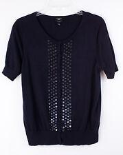 TALBOTS Petite Sweater Short Sleeve Black Pima Cotton Size L Nice!