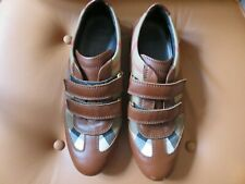 BURBERRY FAB LEATHER & TRADITIONAL CLOTH CHECK VELCRO SHOES UK 4 EUR 37 WIDE FIT
