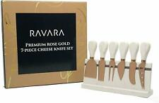 Ravara Cheese Knife Set, 7pcs (4 Knives, Spreader, Cheese Fork, & Marble Stand)