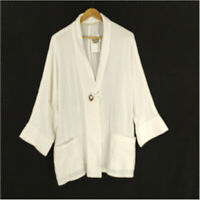 Soft Surroundings Cardigan White 1X Cotton 3/4 Sleeve One Button Pockets V-Neck