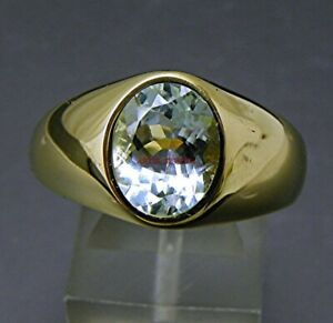 Natural Sky Blue Topaz Gemstone with Gold Plated 925 Sterling Silver Ring AJ377
