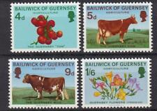 Guernsey MH 1970 sc#33-36 Cow-Bull-Tomatoes-Freesias