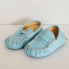 Trumpette 3 Baby Infant Blue Moccasins Slip On Loafer Shoe Unisex Patent Leather