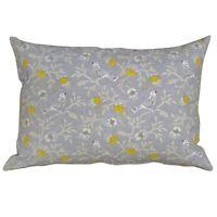 "Dainty Songbird Boudoir Cushion. 17x12"" Rectangle. Ochre Mustard Yellow & Grey"