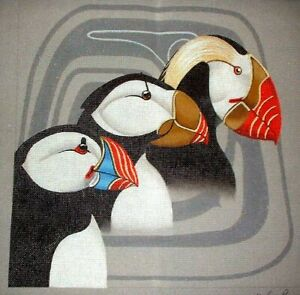 MZC Puffin Birds by Leigh HP Hand Painted Needlepoint Canvas