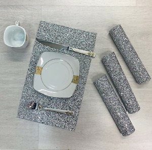 Diamante Romany Dining Table Placemat Tableware Dinner Sparkly Crushed Diamond💎