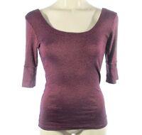 Sucre Soir M Medium Top Purple Plum Short Sleeve Knit Scoop Neck
