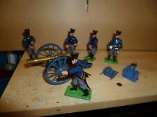 Napoleonic Prussian Cannon & Crew 54mm Painted Metal Little Legion Toy Soldiers