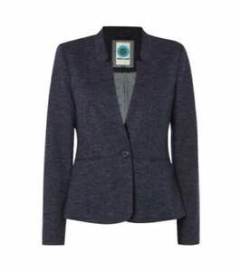 White Stuff City Heights Brooklyn Blue Marl Blazer Jacket Size 10 Button Pockets