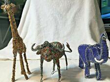 Beaded Wire African Folk Art Animal Glass Beads Sculpture Statue Figures