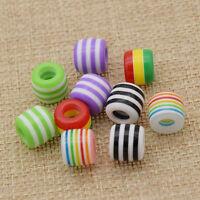 DIY Striped Coloured Hair Braid Dread Dreadlock Beads Fashion Jewelry 10 Pcs