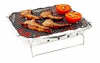 Disposable Charcoal BBQ Grill Tray + Wire Stand Camping Caravan Picnic Barbeque