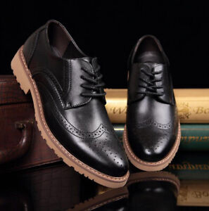Men Brogue Pu Leather Shoes Formal Dress Wedding Business Shoes Oxfords Lace Up
