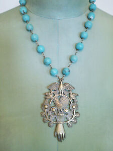 One Of A Kind NECKLACE Antique Peruvian Pendant Lady's Hand Birds TurquoiseBead