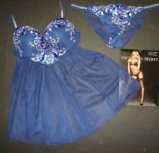 NWT Victoria's Secret 34B,34C BRA BABYDOLL dress blue silver FLORAL EMBROIDERED