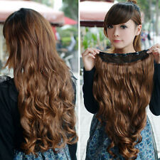 Women New One Piece Clip in Synthetic Human Hair Extensions Long Wavy Curly Hair
