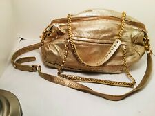 BOTKIER GOLD LEATHER CHAIN STRAP LARGE SATCHEL HANDBAG SHOULDER BAG - EXC COND