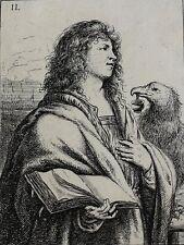 Jan Lievens Dutch 1607-1674 Etching St. Ioannes The Four Evangelist