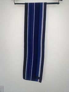 "Coach Merino Wool Navy Gray Grey Reversible Scarf 7.5"" X 48"""
