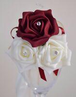 pin on & ribbon or diamante pearl wrist corsage wedding prom bridesmaid flowers