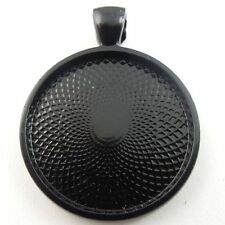 8PCS Vintage Black Jewelry Round Cameo Setting Tray Inner 28*28*3 mm Charm 09077