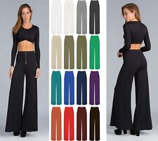 Women Ladies Palazzo Plain Flared Wide Leg Pants leggings Baggy Trousers