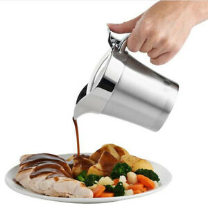 2 Pcs Stainless Steel Gravy Boat Insulated Sauce Serving Jug Pourer with Lid