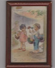 GERMAINE BOURET CARTE POSTALE SOUS CADRE/LE NEGOCIANT/PLUMEAU/ENFANTS/CHIEN