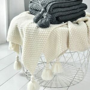Chunky Tassel Blanket Sofa Bed Office Home Nap Throw Shawl Knit Weighted Cover