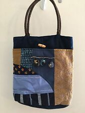 Handmade Owl Tote Bag Blue Patchwork Stitching 3D Dangling Owls Unique Gift