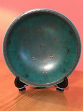 Gustavsberg Argenta Swedish Pottery Small 15cm Round Bowl Green Silver inlaid