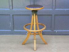 Antique Architect's Drafting Stool oak chair w adj swivel leather seat