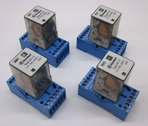 Finder Type 60.13 Relay, 10A 250VAC, 24VAC Coil w/ 90.73 Socket, Lot of 4