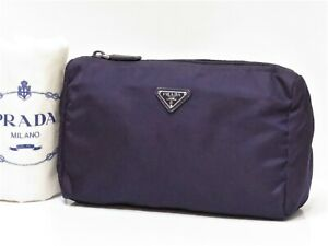 Auth PRADA Nylon Makeup bag Cosmetic bag Pouch Purple Large Travel 18620749