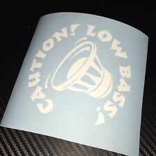 WHITE Caution Low Bass Car Sticker Decal Speaker Sub Subwoofer Bassbox SPL