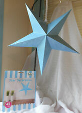 FIVE  BLUE 45 CM HANRING STAR DECORATION GREAT FOR ANY PARTY OCCASIONS.