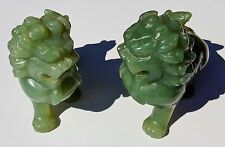 Hand Carved Pair Vintage Foo Dog Lion ShiShi Guardian Jade Statues Qing Dynasty