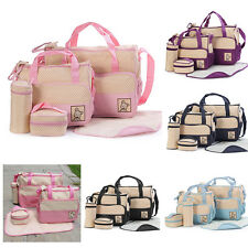 5pcs Baby Changing Diaper Nappy Bag Pad Mummy Mother Multifunctional Handbag