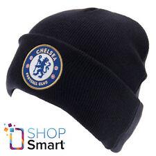 CHELSEA FC FOOTBALL SOCCER CLUB TEAM CAP KNITTED TURN UP BEANIE HAT NAVY BLUE