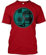 Teal Blue And Black Acoustic Electric Guitars Yin Yang Hanes Tagless Tee T-Shirt