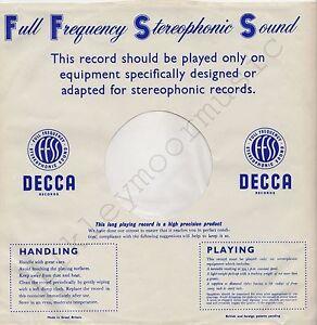 "Vintage INNER SLEEVE or SLEEVES 12"" DECCA Full Frequency Stereo FFSS blue v1 x 1"