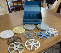 "Vintage Blue Metal Movie Film Box 6 Reels 4 Reel 5"" Reels GREAT Find see photos"