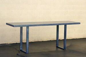 Custom Metallic Midnight Blue Console Table, Industrial Sleek