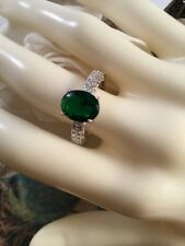 Vintage Art Deco Jewellery White Gold Ring Emerald Heart Band Antique Jewelry