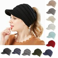 Women's Ponytail Beanie Skull Cap Winter Warm Stretch Knitted Cap